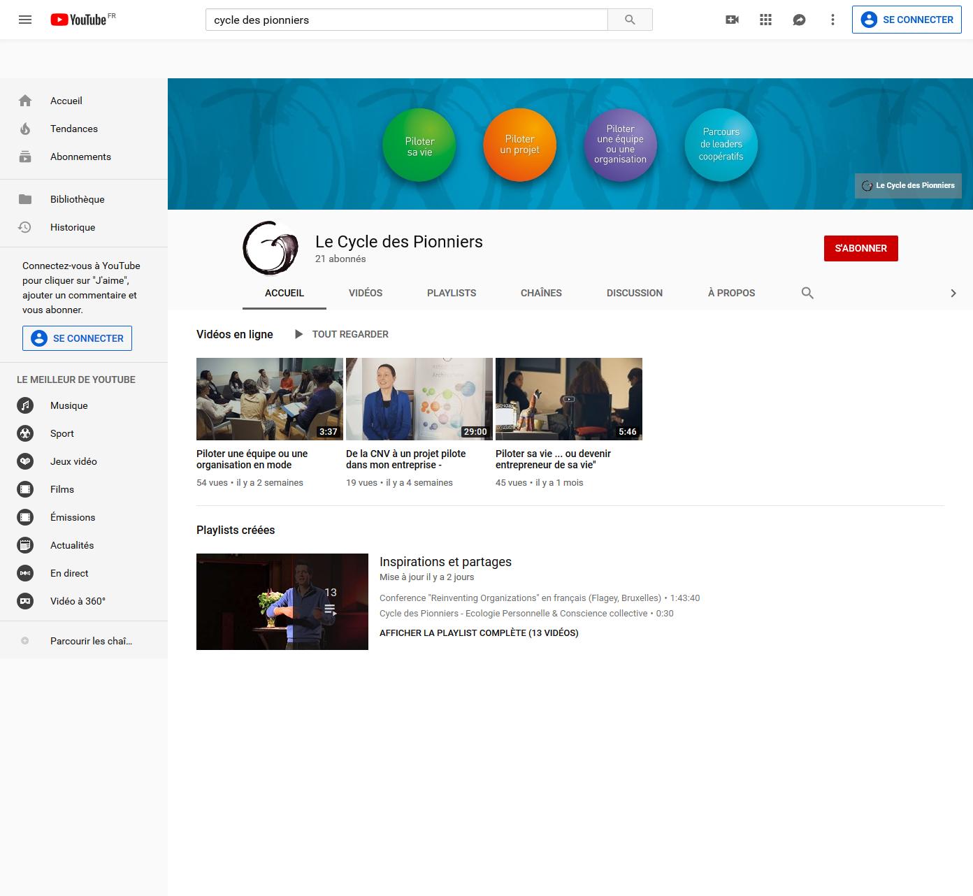 La nouvelle chaîne Le Cycle des Pionniers sur YouTube