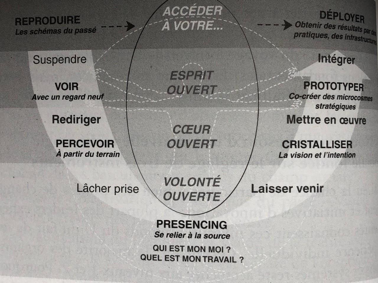 Otto Scharmer a développé la théorie du U qui comprend 5 mouvements.
