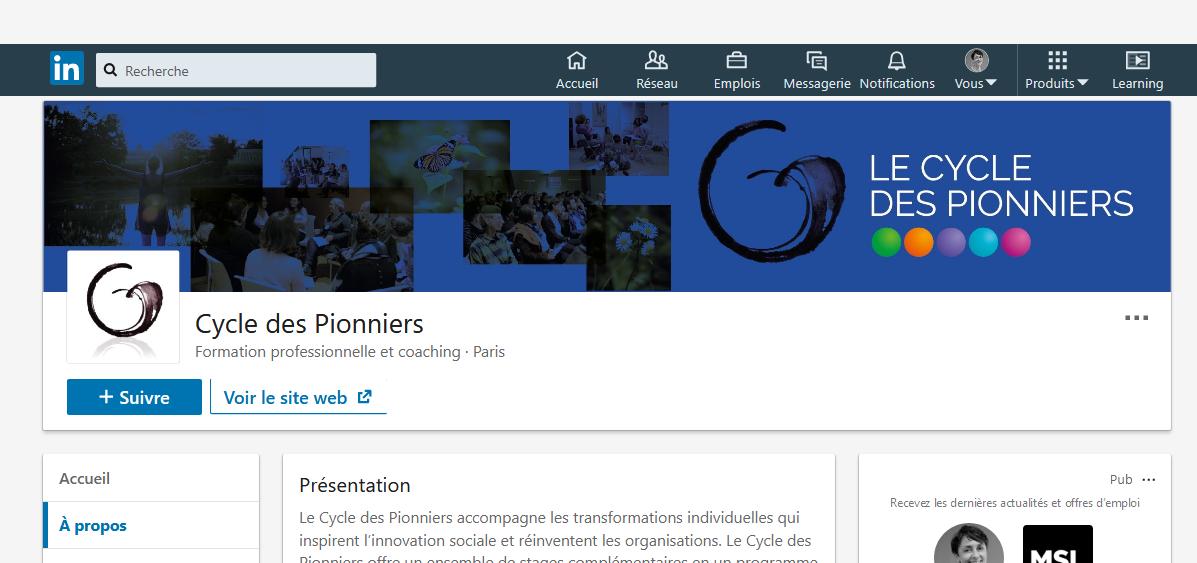 La page entreprise du Cycle des Pionniers est sur LinkedIn.